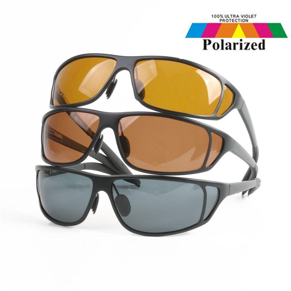 Haute Qualité Titane Métal Cadre Mouche De Pêche Lunettes De Soleil Polarisées Brown Jaune Et Gris À Choisir UV400 lunettes de Soleil De Pêche
