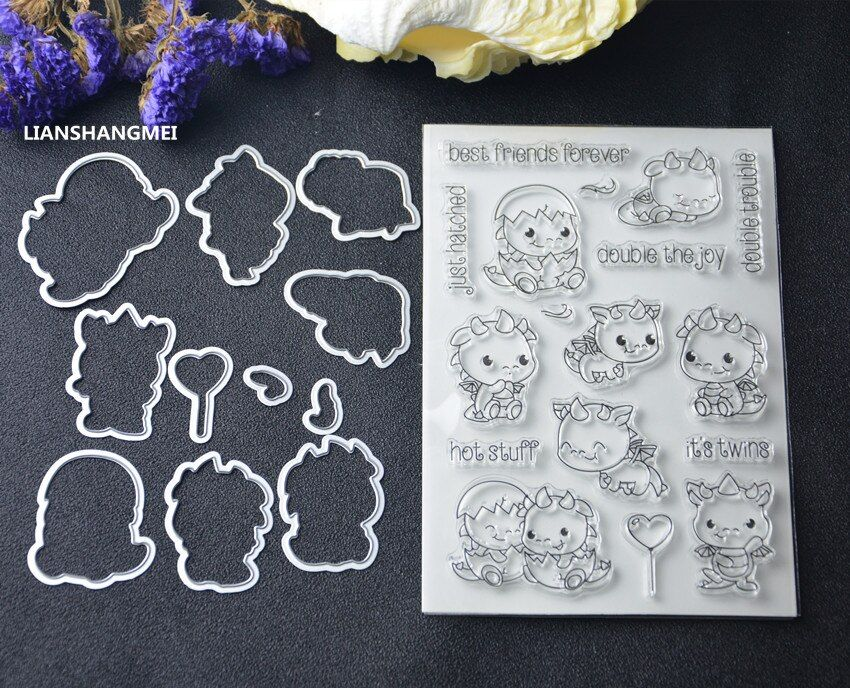 Twin dinosaurio Metal Plantillas de Troqueles De Corte y sello DIY Scrapbooking/álbum de fotos Decorativo En Relieve DIY Tarjetas De Papel Haciendo