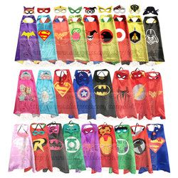Kids Superhero and Supergirls Costumes Boys and Girls Capes with Masks Party Favor Dress Up Cosplay