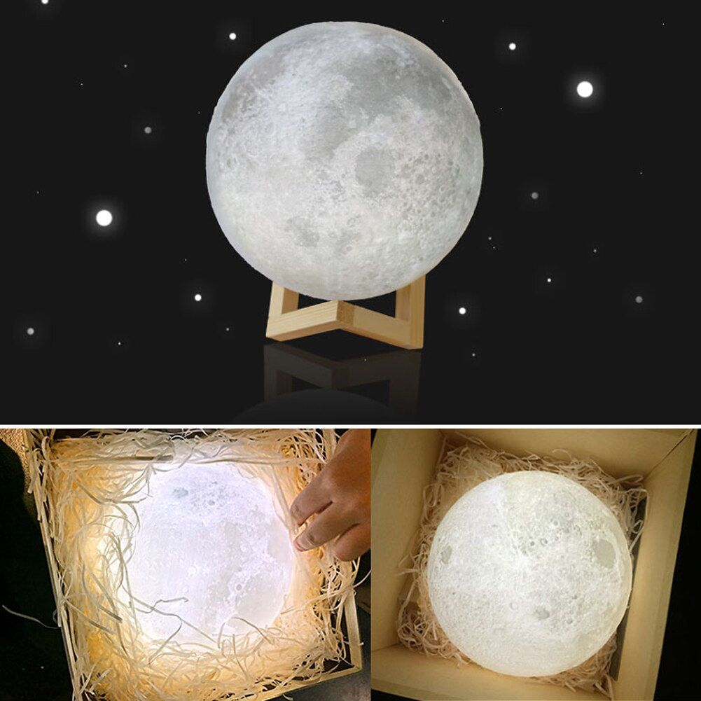 8-20cm 3D Print Moon Lamp 2 Color <font><b>Change</b></font> Touch Sensor Bedroom Bookcase LED Moon Night Light Home Decor Creative Gift