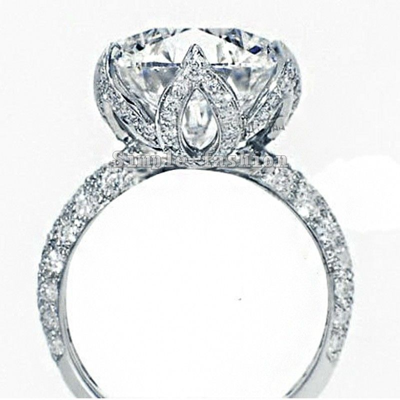 Vecalon 2016 new Romantic Flower Female ring 3ct AAAAA Zircon cz 925 Sterling Silver Engagement wedding Band ring for women