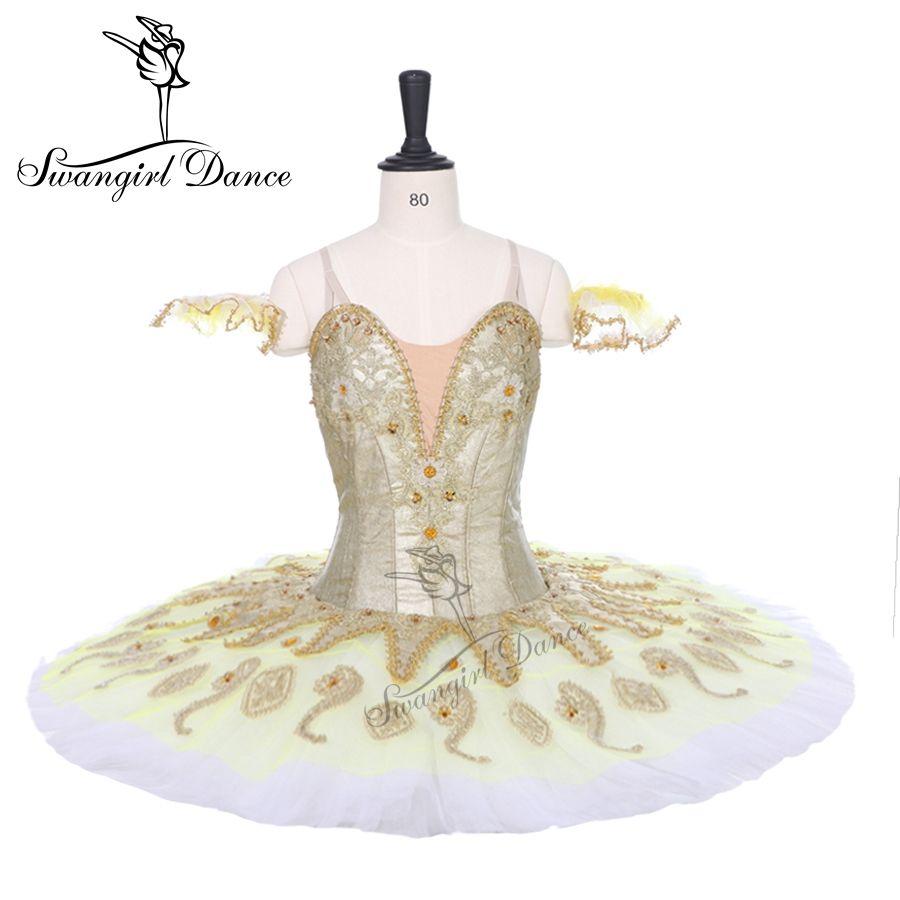 Neueste gold platter tutu für competiton mädchen dornröschen ballett tutu klassische professionelle ballett tutu pfannkuchen BT9134B