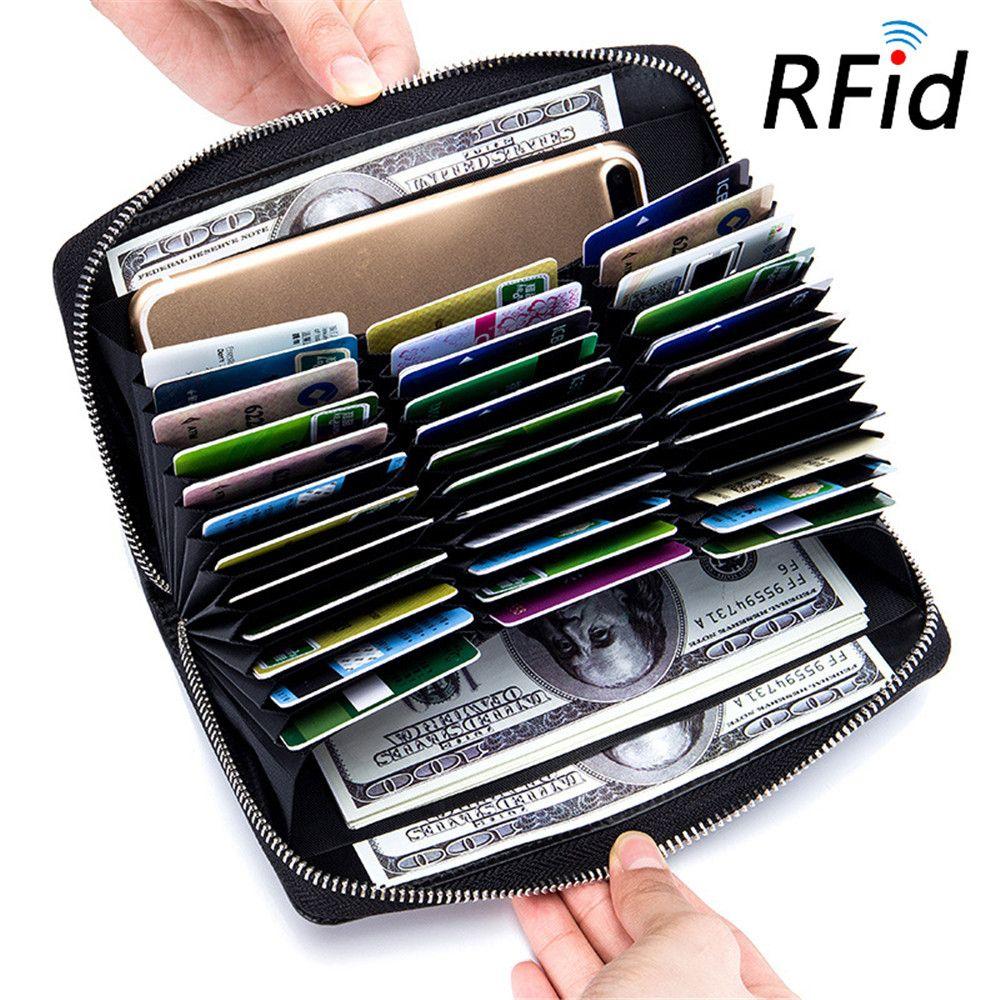 Cuir RFID bloquant les porte-carte de crédit hommes Anti-vol voyage passeport Long portefeuille femmes porte-carte d'identité d'affaires 36 cartes sac à main