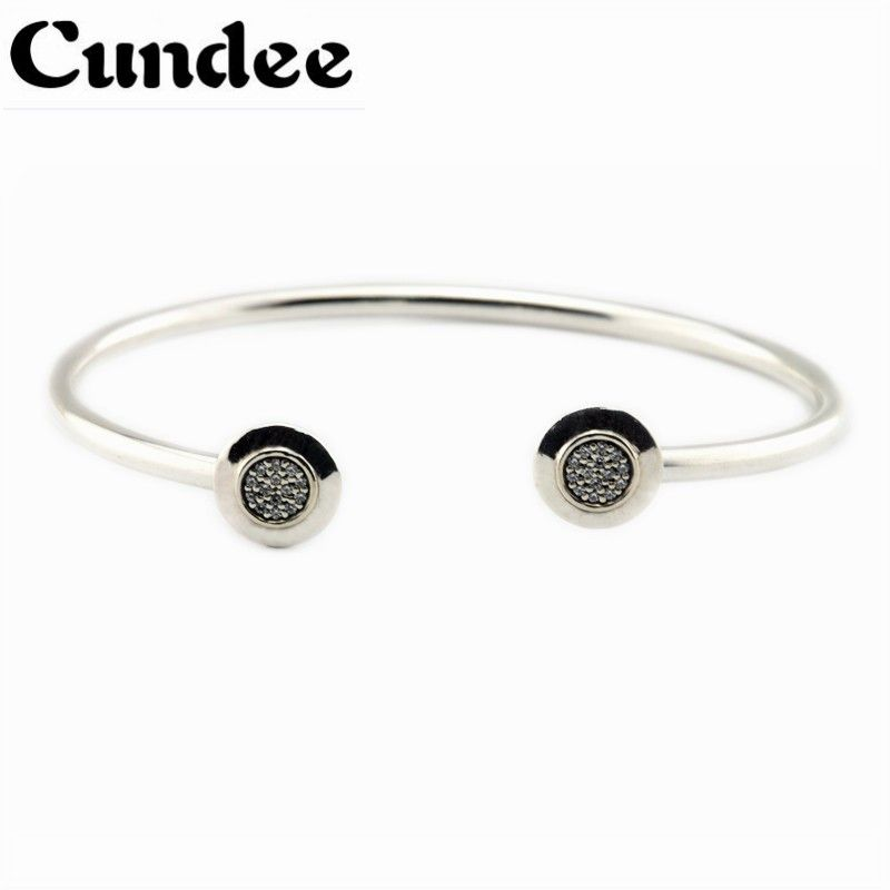 Compatible With European Jewelry Signature Silver Open Bangle With Clear CZ 925 Sterling Silver Bracelets for Women DIY Jewelry