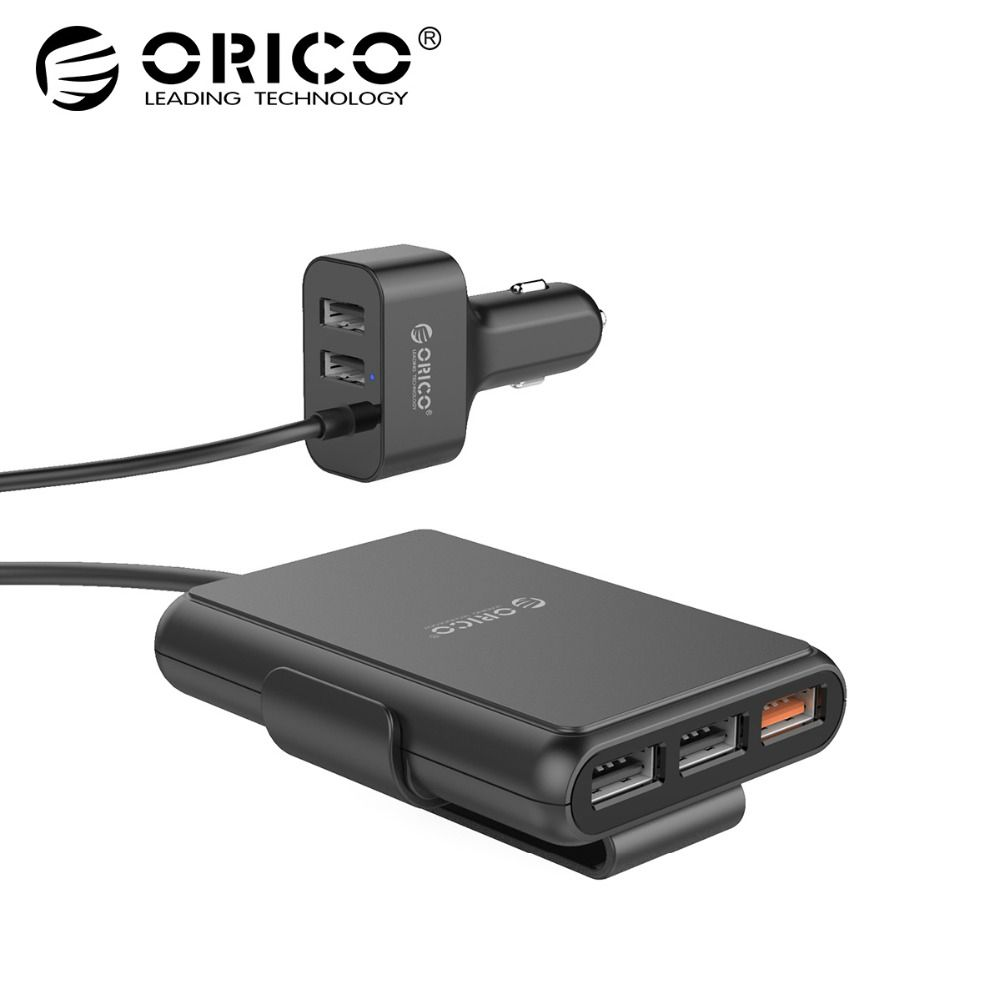 ORICO UCP-5P 52W USB Car <font><b>Charger</b></font> Smart Charging QC3.0 Quick Car <font><b>Charger</b></font> for Xiaomi Huawei Sanmsung Tablet