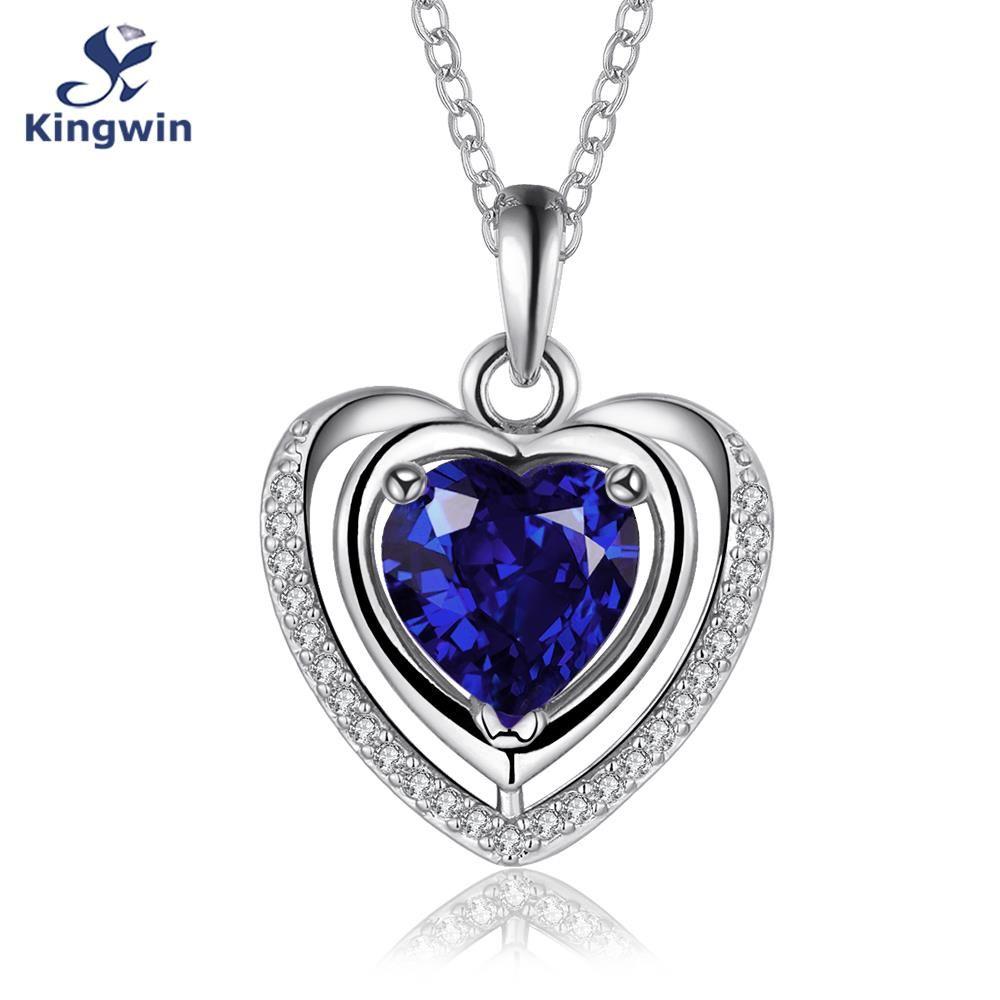 Blanco Puro Color Oro corazón colgante de collar de piedra semipreciosa Azul indio piedra sintética cz Circón joyería de plata de las mujeres