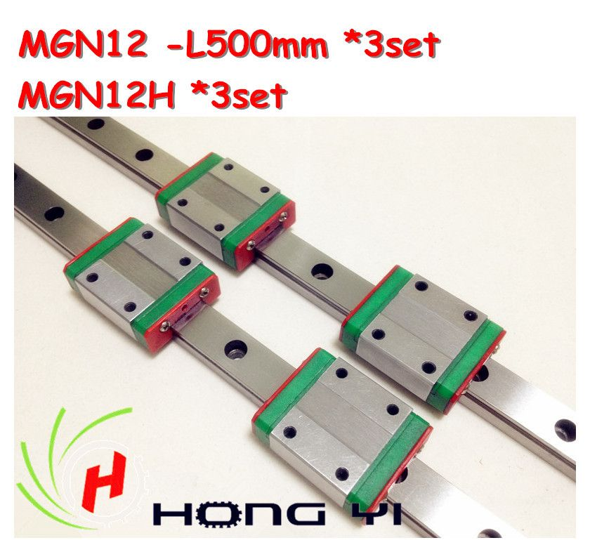 Free shipping for 3PCS 12mm Linear Guide MGN12 L= 500mm linear motion rail + MGN12H Long linear carriage for CNC X Y Z Axis