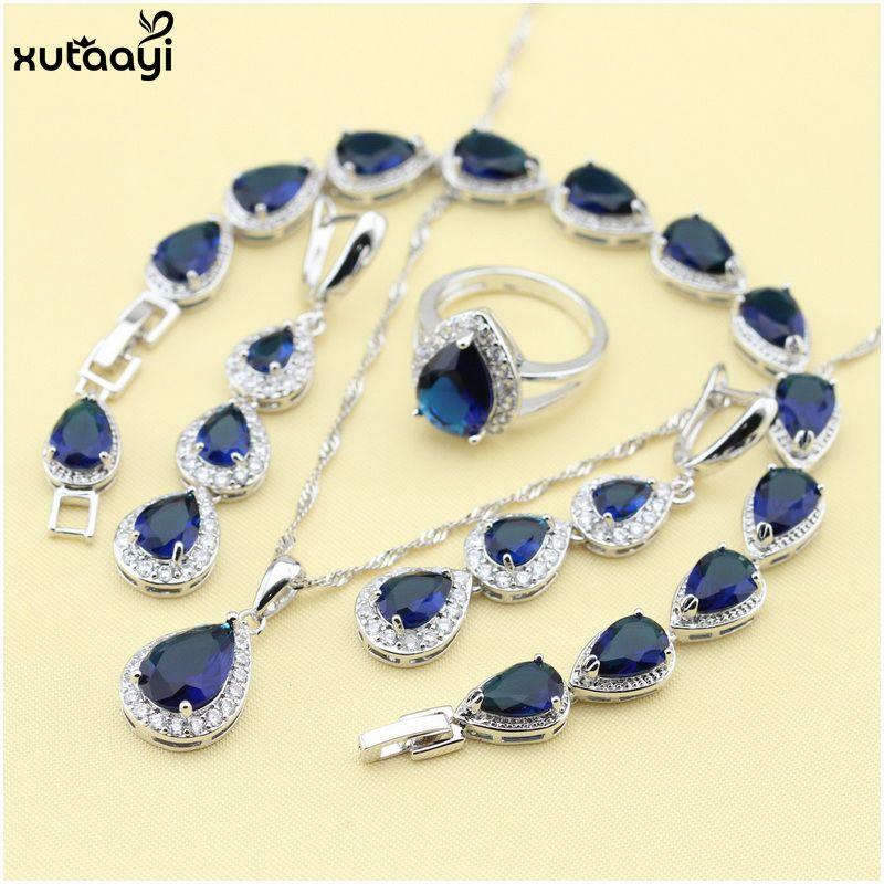 XUTAAYI Top qualité 925 bijoux en argent ensembles bleu créé saphirs sans défaut collier/bagues/boucles d'oreilles/Bracelet pour les femmes