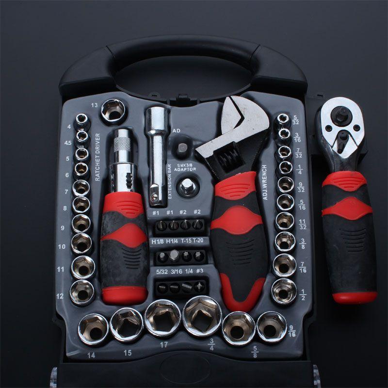 Tournevis à main 45 en 1 clés à douille Kit d'outils à cliquet ensemble de clés dynamométriques et à cliquet outils de réparation pour véhicule vélo