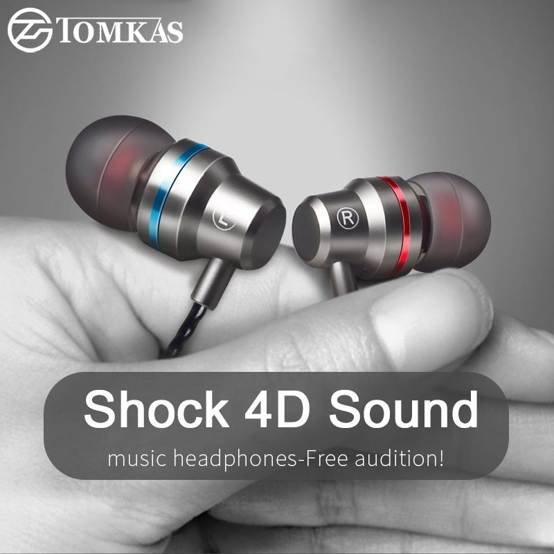 Tomkas In-ear Wired Earphone For Mobile Phone Earphones 5 Colors 3.5mm In Ear Sport Micro Earphone For iPhone Xiaomi With Mic