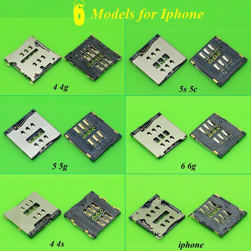 ChengHaoRan 6 Modèles Micro SIM Lecteur de Carte pour Iphone 4 4G 4S 5 5S 6 6G SIM Plateau Fente Socket Remplacement Connecteur