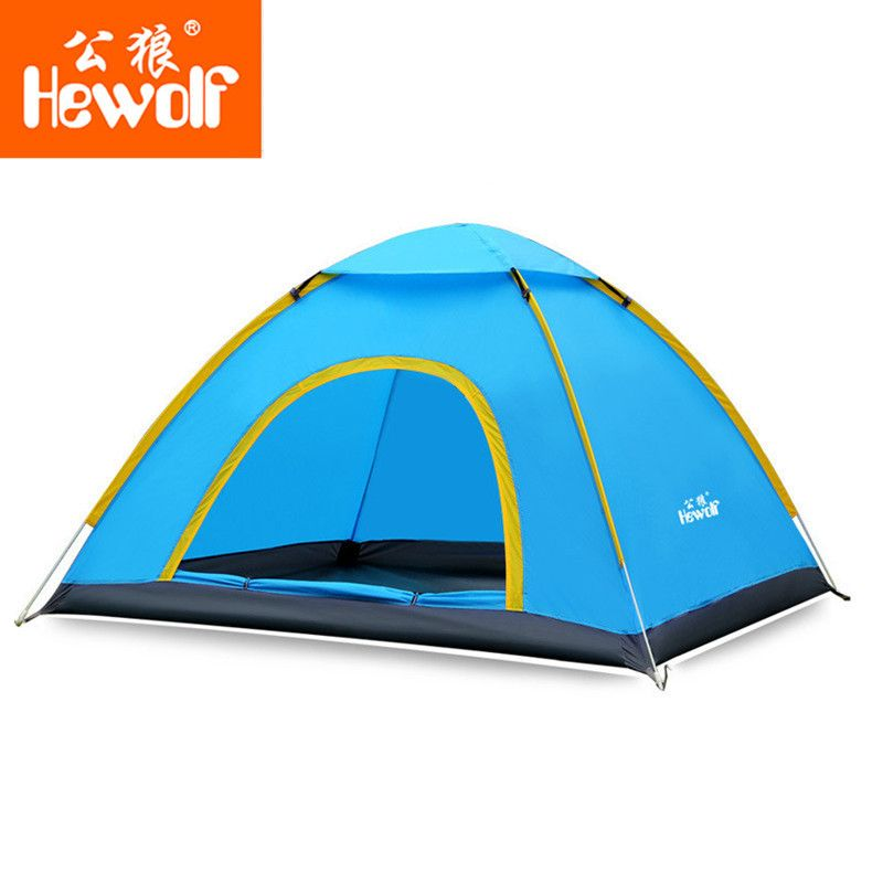 Hewolf Portable Tents Outdoor Anti-UV 2 Person Quick Open Tent Ultralight Waterproof Single Layer Beach Camping Tent 4 Seasons