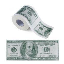One Hundred Dollar Bill Printed Toilet Paper America US Dollars Tissue Novelty Funny $100 TP Money Roll Gag Gift