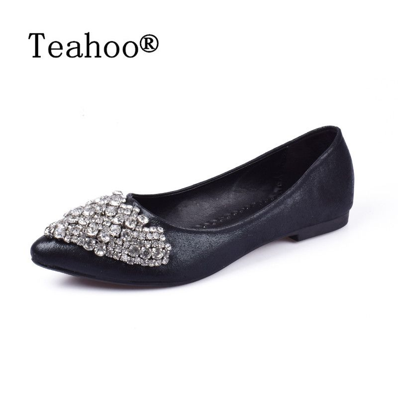 NEW Fashion 2017 Flats Shoes Women Ballet Princess Shoes For Casual Crystal Boat Shoes <font><b>Rhinestone</b></font> Women Flats PLUS Size New