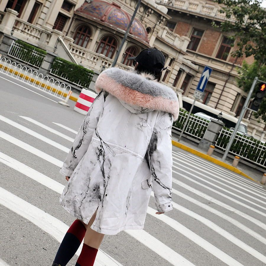 DYCCFUR 23 colors S-3XL Black Pink Green Blue Red Marbling Womens Hooded Warm Winter Coats Real Raccoon Fur Lined Parkas Jacket