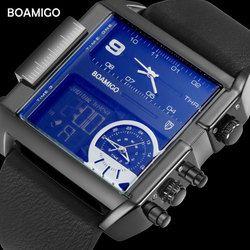 Boamigo Merek Pria Olahraga Jam Tangan 3 Zona Waktu Pria Besar Fashion Militer LED Watch Jam Kuarsa Jam Tangan Kulit Pria Warna