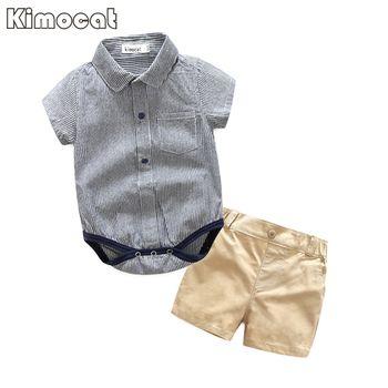 Kimocat Marque Bébé Garçon Vêtements 2 Pcs Infantile Salopette À Manches Courtes D'été Bébé Vêtements Ensemble D'été Garçon