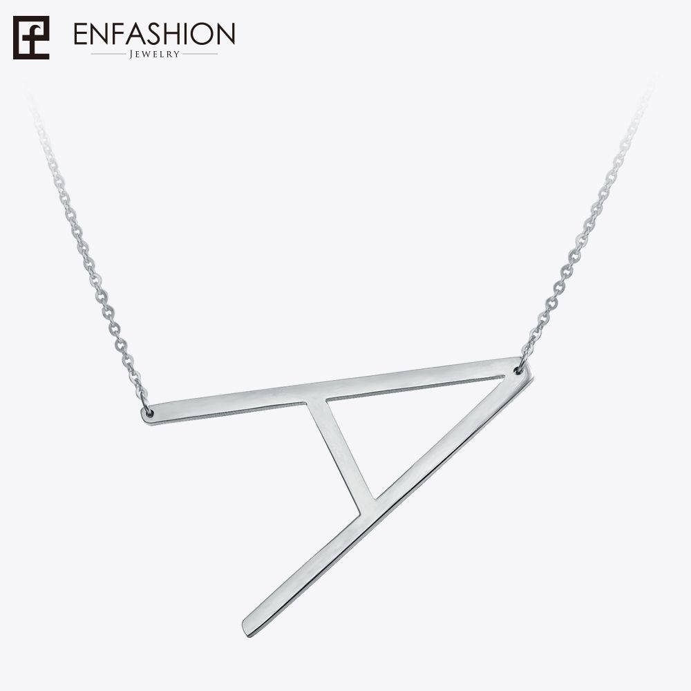 Enfashion Letter Necklaces <font><b>Pendants</b></font> Alfabet Initial Necklace Stainless Steel Choker Necklace Women Jewelry Kolye Collier collare