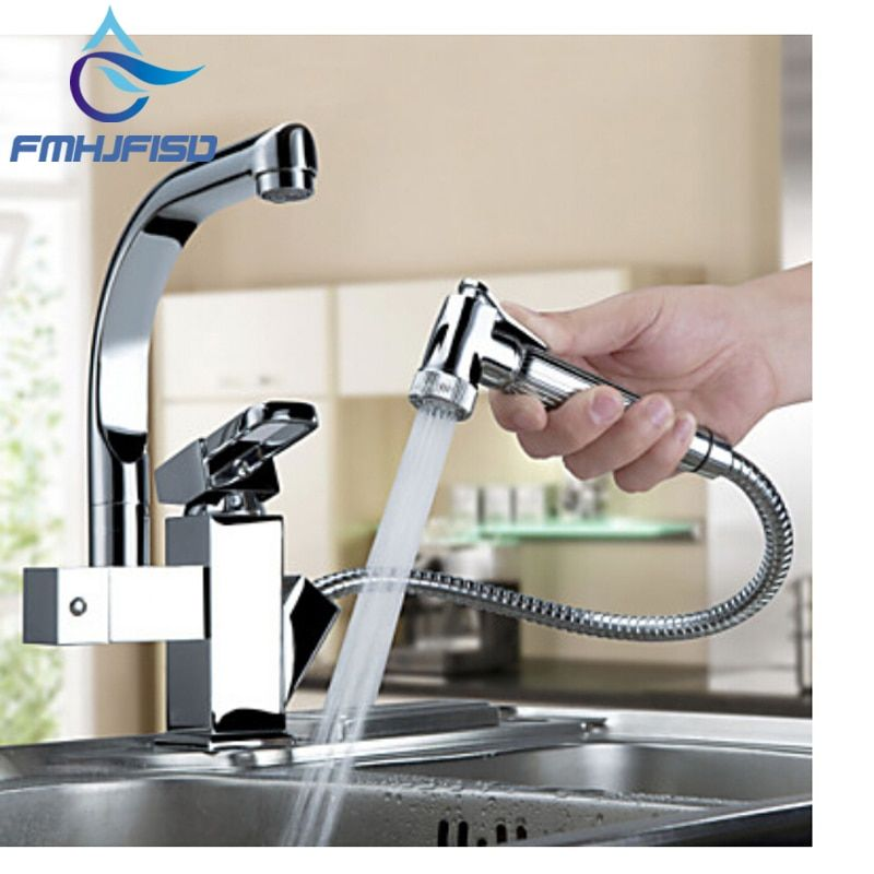 Luxury Pull Out Sprayer Single Handle Hole Kichen Faucet Deck Mounted Chrome Brass Vessel Sink Mixer Tap Dual Spouts