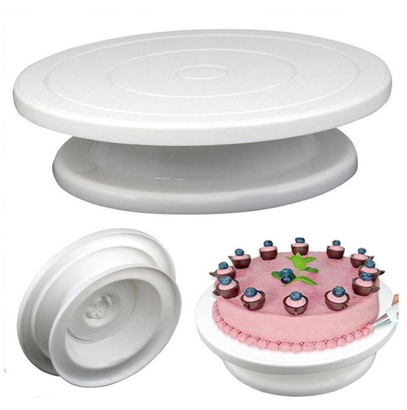 DIY Pan Baking Tool Plastic Cake Plate Turntable Rotating Anti-skid Round Cake Stand Cake Decorating Rotary Table Kitchen