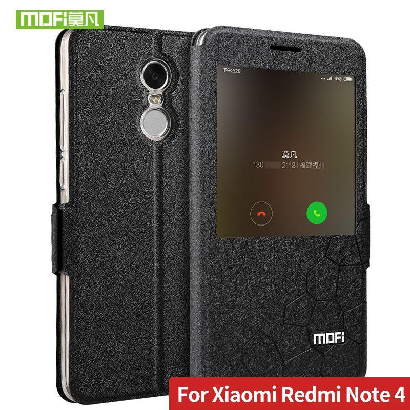 Pour Xiaomi Redmi Note 4 Cas 5.5 couverture de silicium glitter flip en cuir mondial version mofi Redmi Note 4 pro cas en plastique souple funda
