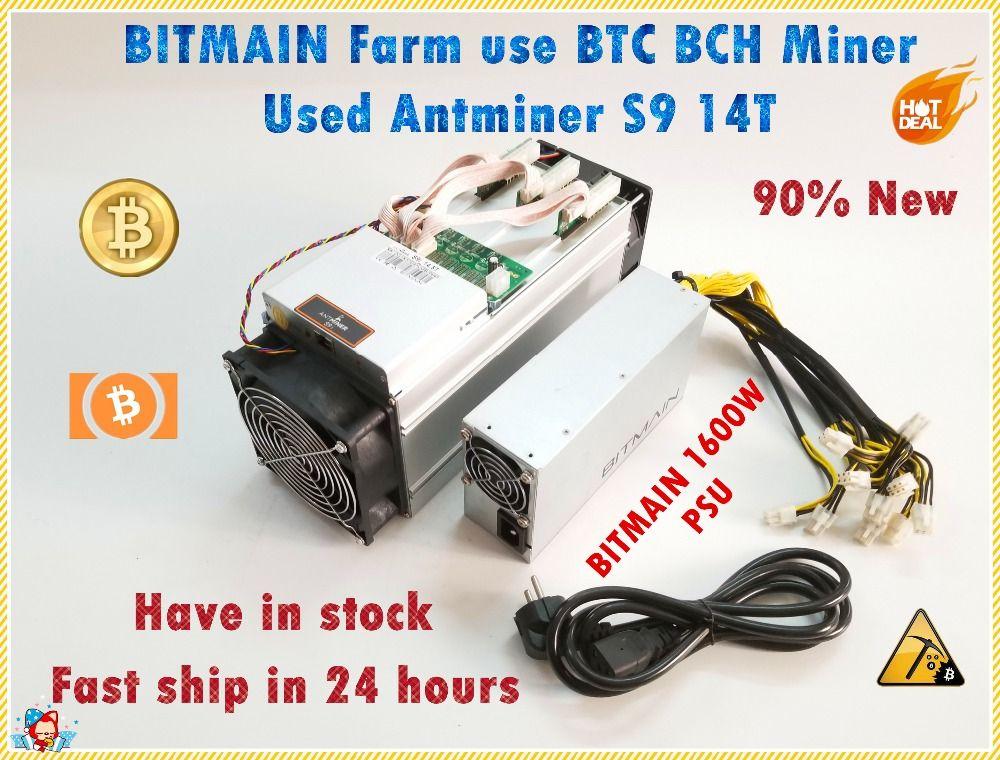 Verwendet Antminer S9 14TH Mit BITMAIN APW3 + + 1600 W Netzteil Asic BTC BCH Miner Besser Als S9 S11 s15 T15 T9 WhatsMiner M3