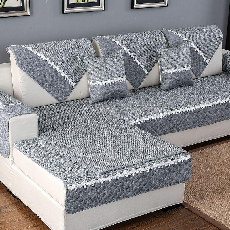 Haute qualité couleur unie canapé couverture canapé serviette coussin coton lin tissu canapé cas pour ensemble de canapé de forme différente