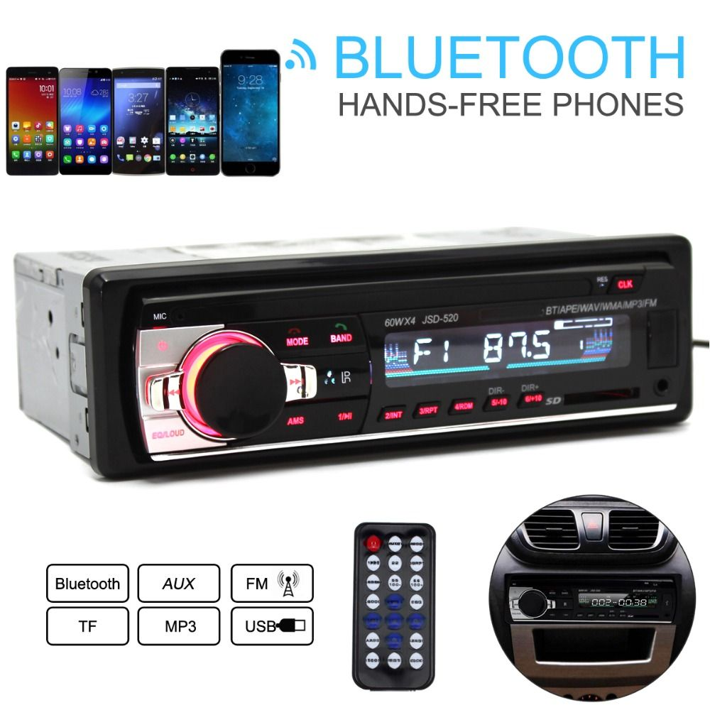 JSD-520 12V Car Radio Bluetooth Remote Control MP3 Audio Player Support FM Aux Input Receiver SD USB MP3