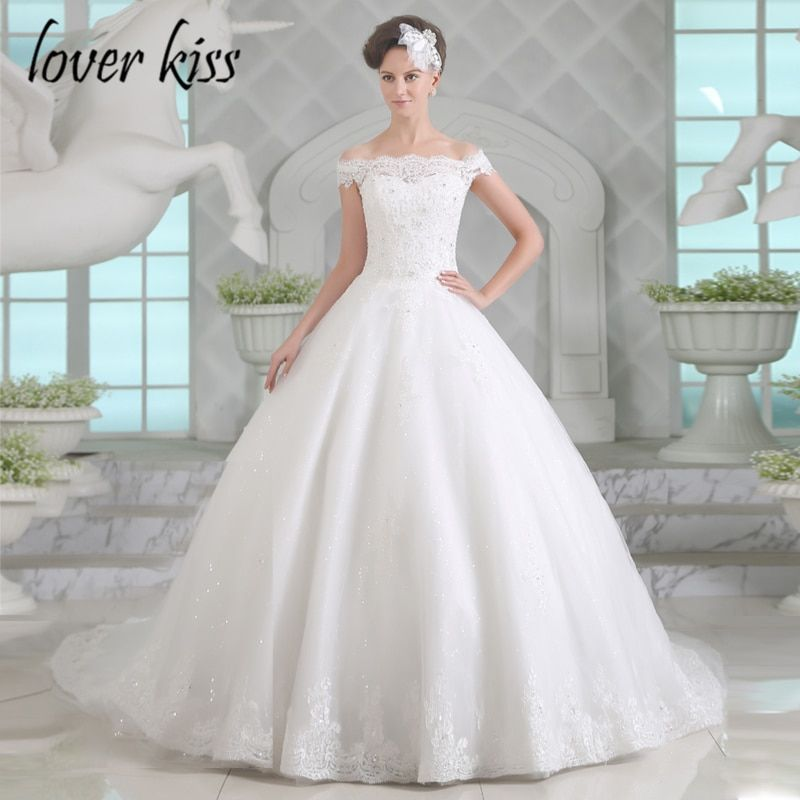 Lover Kiss Vestido De Noiva Off The Shoulder Wedding Dresses Lace Sequined Bodice Sweep Train Brides Dresses For Weddings 2018