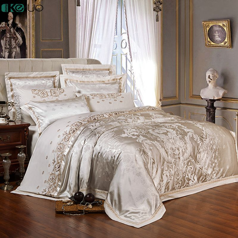KELUO Wedding Luxury Satin Jacquard Bedding sets Embroidery Queen King size Duvet cover Bed sheet Pillow Sham Red Beige white