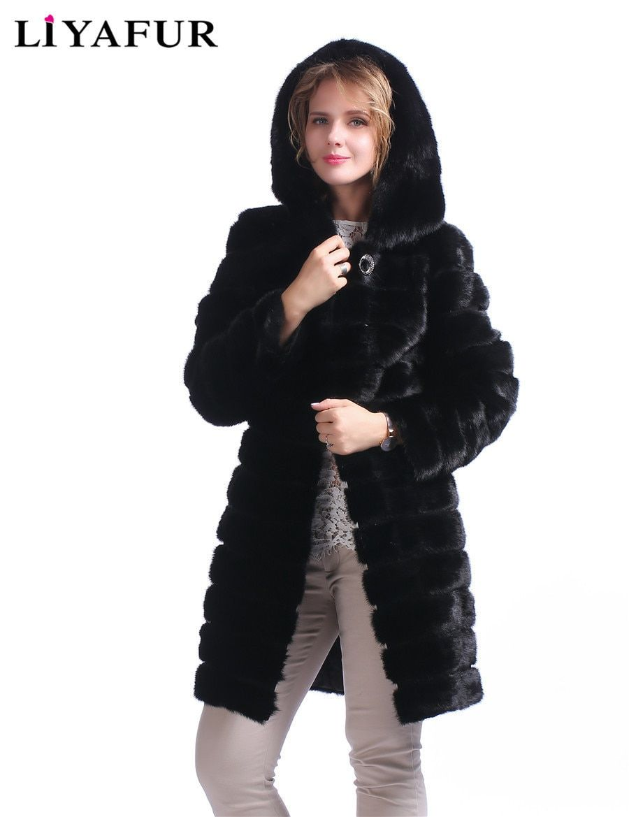 LIYAFUR Real Mink Fur Hoodie Coat For Women Natural Genuine Fur Winter Long Warm Russian Luxury Coats With Belt Black Outerwear