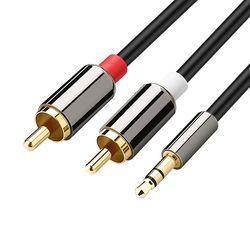 Amkle Audio 2RCA a 3,5 Audio RCA Cable 3,5mm Jack macho a macho RCA AUX Cable para amplificador altavoz del auricular del teléfono