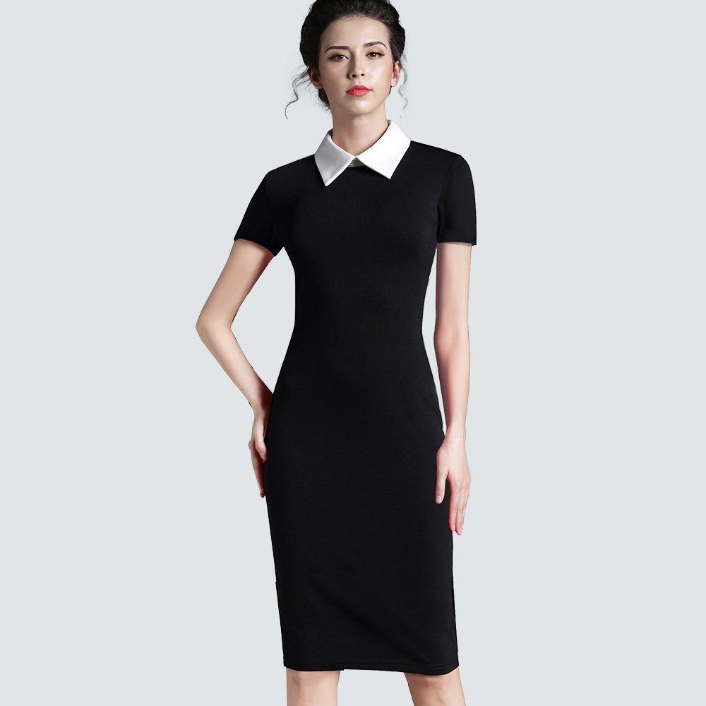 Femmes Vêtements Vintage Noir Femmes Travail Formel Bureau D'affaires À Manches Courtes décontracté Moulante Gaine Crayon Ajustée Robe 751