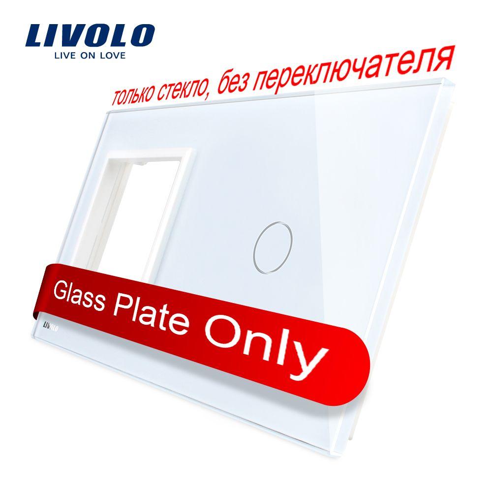 Livolo luxe verre de cristal de perle, 151mm * 80mm, norme de l'ue, 1 cadre et 1 panneau de GangGlass, VL-C7-SR/C1-11 (4 couleurs)