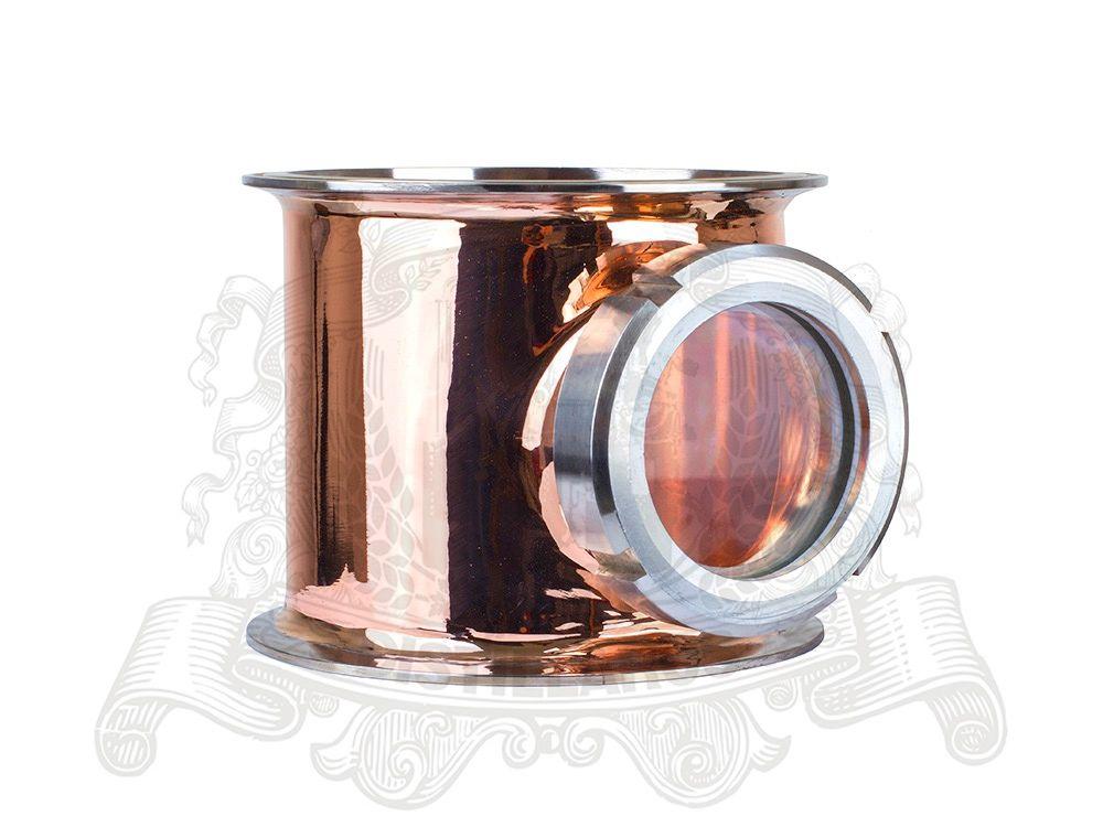 6,5 (OD 183) Kupfer Schauglas Union Tri-clamp T 6,5 x 6,5 x 3. Spiegel polieren. Höhe 150mm.