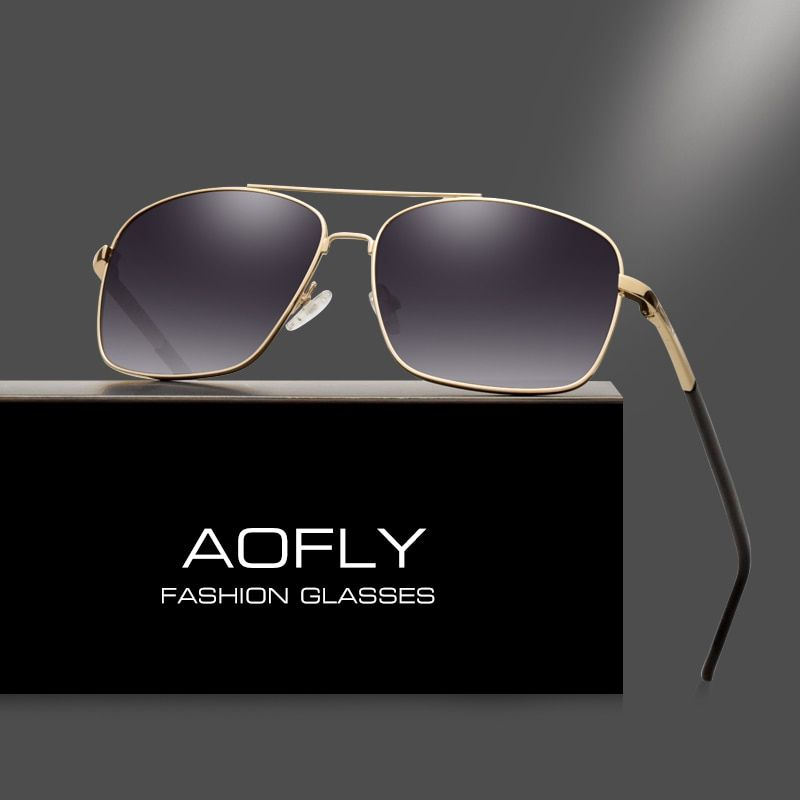 AOFLY Men's Polarized Sunglasses Fashion Brand Designer HD Polaroid Sun glasses for Men Coating <font><b>Lens</b></font> Double Bridge Goggle AF6107