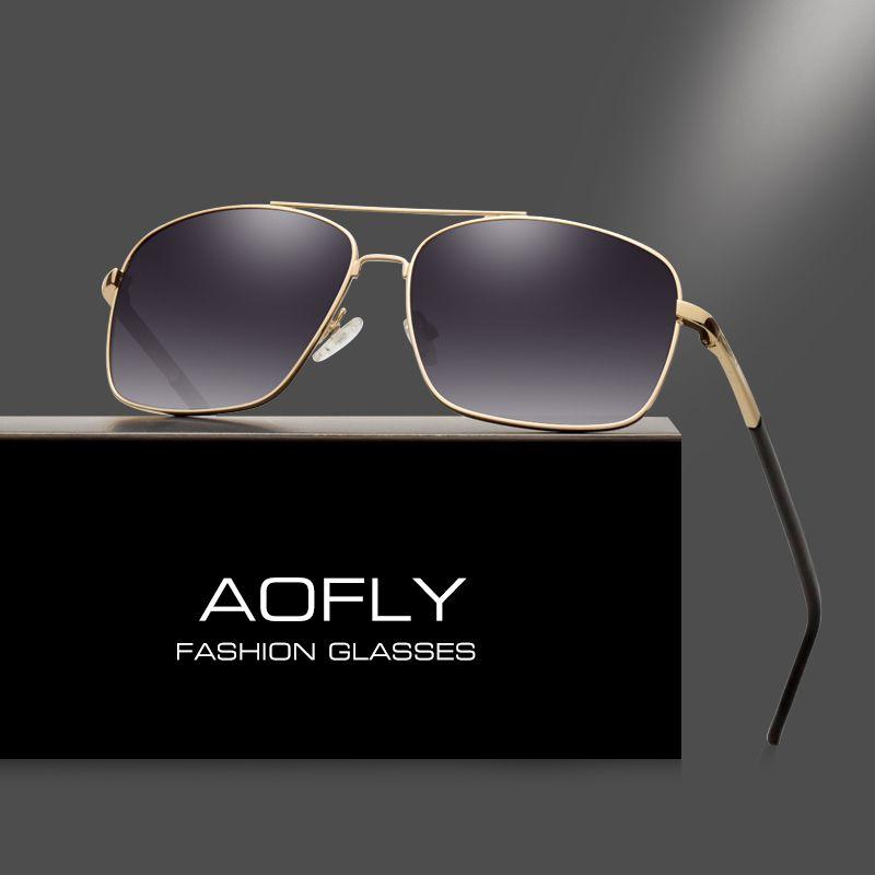 AOFLY Polarizadas Gafas de Sol para Hombres de Moda Diseñador de la Marca HD Lente Doble Puente Gafas Polaroid Gafas de Sol Hombres Recubrimiento AF6107
