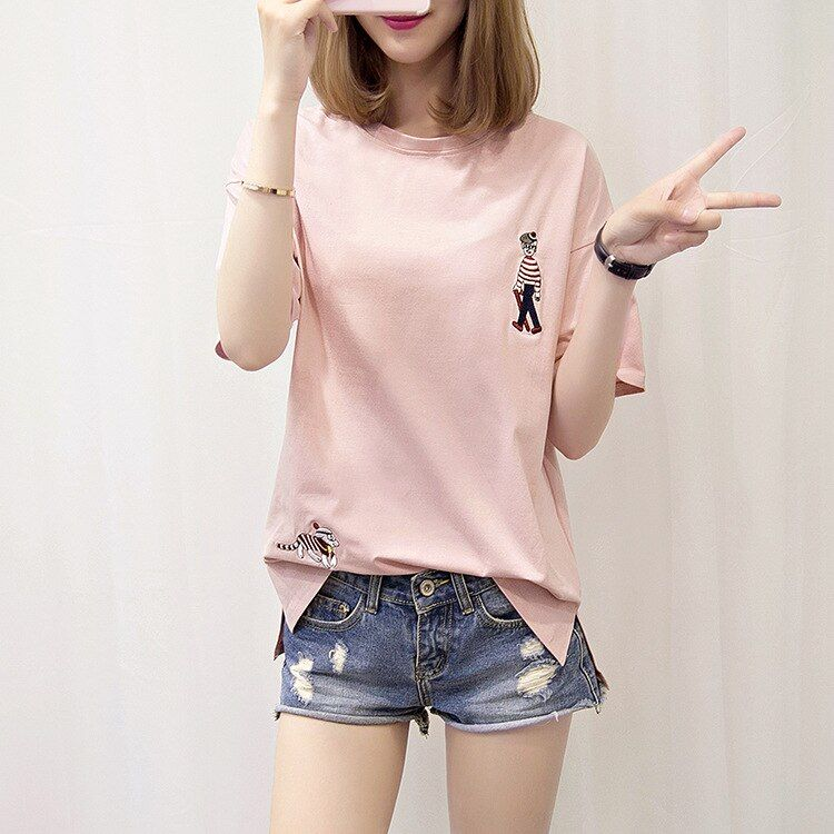 Women Casual Short Sleeve 100% Cotton Slogan T-shirt Women Funny Lady Tops Tees XL01