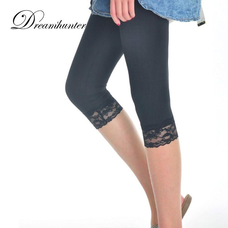 Frauen Sommer Spitze Leggings Dünne Stretch Hose Mittlere Waden Damen Leggins Schwarz Weiß Halbe Hosen Weibliche Legins Frauen