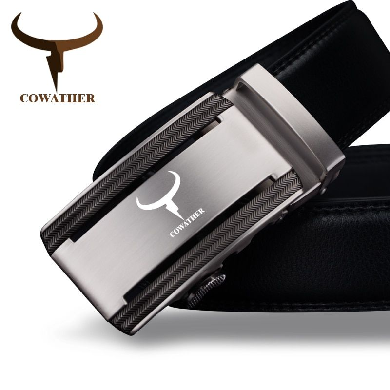 COWATHER 2017 new 100% cow <font><b>genuine</b></font> leather belts for men high quality alloy automatic buckle belt cinto masculino original