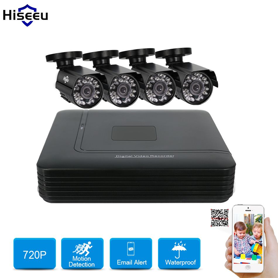 Hiseeu 4CH cctv system 720P AHD Camera 1TB HDD Option Mini DVR CCTV Kit mobile view 1200TVL IR Bullet Outdoor Security System