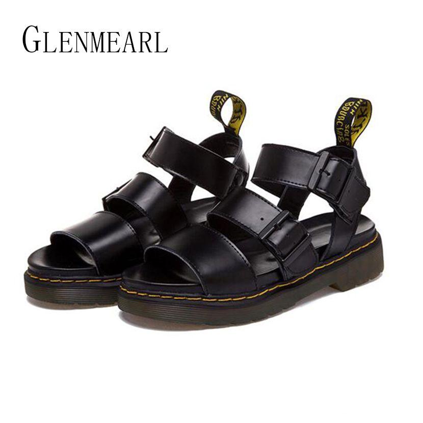 2018 D'été de Femmes Romaines Sandales Chaussures Plus La Taille En Cuir Véritable Rétro Casual Sandales Femmes Talon Épais Plate-Forme Plat Sandals35