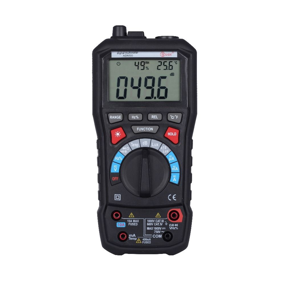 BSIDE ADM30 Digital Multimeter 5 in 1 Noise Illumination Temperature Humidity Multimeter Tester vs MS8229