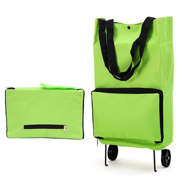 Rueda De Carro de Compras plegable Carrito de Equipaje Plegable ligera Bolsa Traval Verde