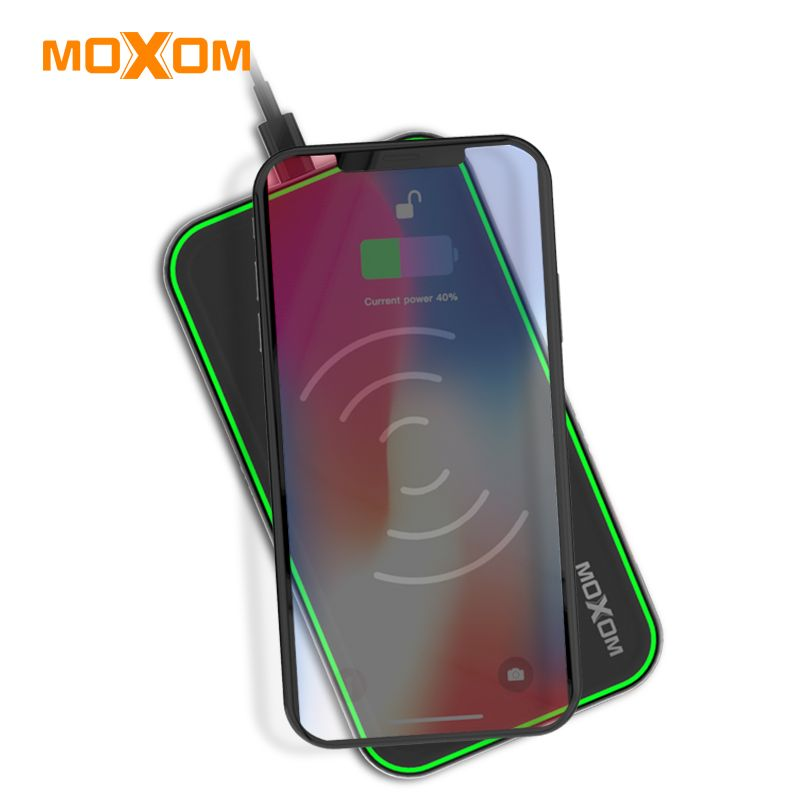 MOXOM Wireless Charger QC 3.0 Fast Charger 10W Input Mobile Phone Charger USB Charger Wall Adapter For iPhone, Xiaomi, Huawei