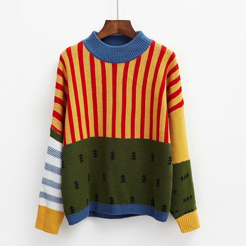 Harajuku 2017 Korean New Winter Sweaters Stripes Hit Color Loose Bat Head Women Sweater Cuff Drop Ship