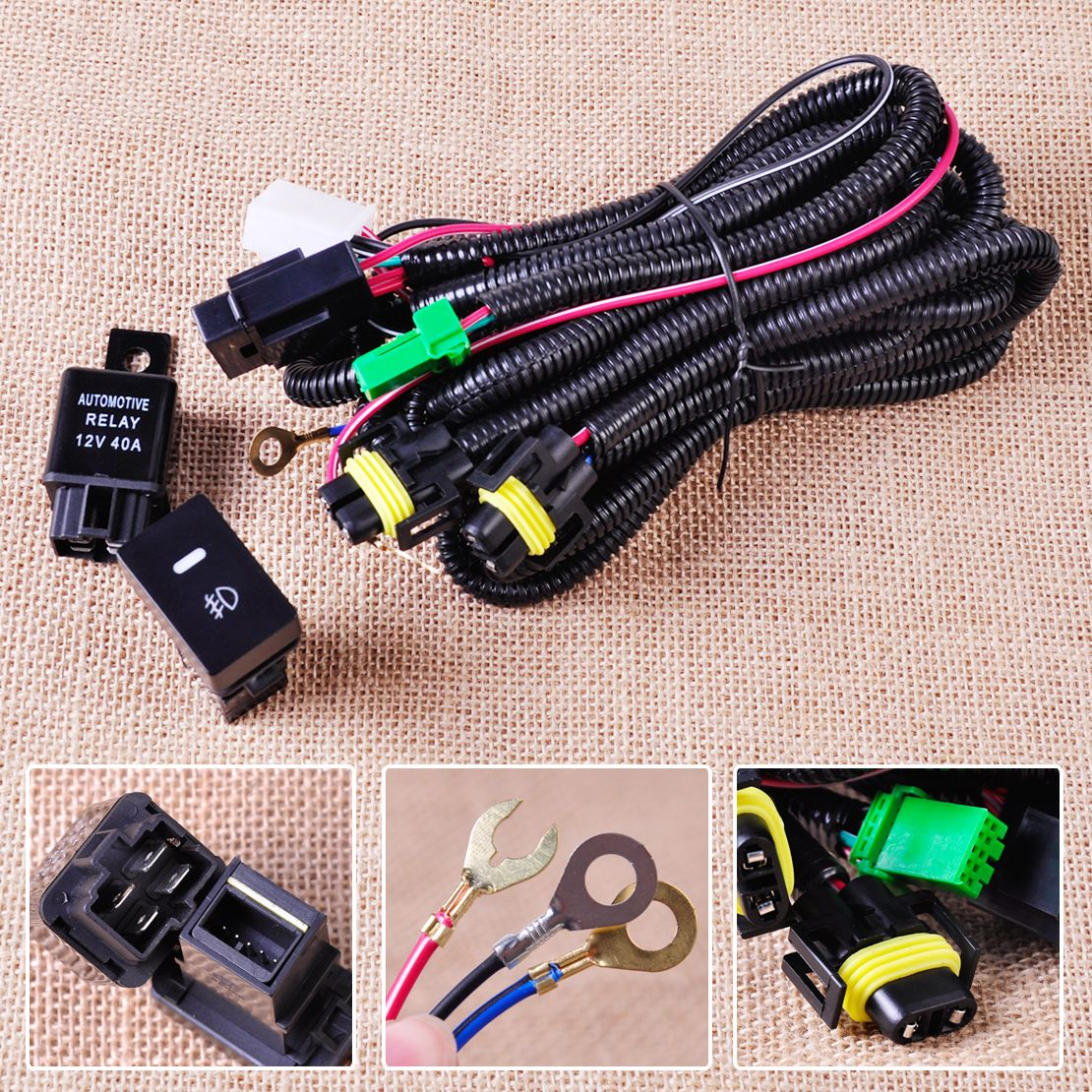 CITALL H11 Fog Light Lamp Wiring Harness Sockets Wire + Switch with LED indicators Automotive Relay for Ford Focus Acura Nissan