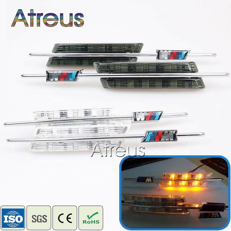 Atrée 2X LED Fender Clignotants Latéraux Pour BMW E60 E61 E81 E82 E87 E88 E90 E91 E92 E93 Voiture indicateur LED Lumières 12 V M Logo style