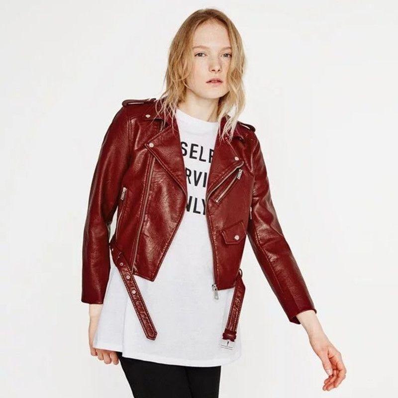 Slim Women PU Coat Faux Leather Fall Winter Female Crop Jacket Black Motorcycle Lady Out Wear
