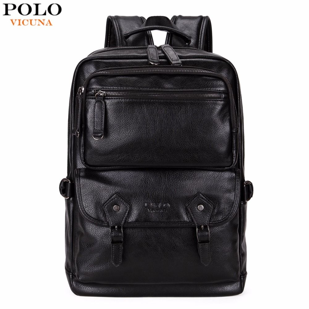 VICUNA POLO Multifunctional Leather Men Backpack Brand High Quality Big Men Leather Travel Backpack Business Laptop Backpack Hot